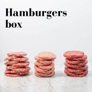 Hamburgers box. Angus, maialino nero o misto di pollo e tacchino